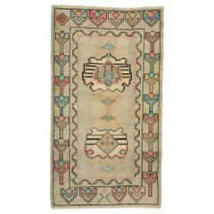 Vintage Turkish Oushak Rug with Bohemian Swedish Gustavian Farmhouse Style