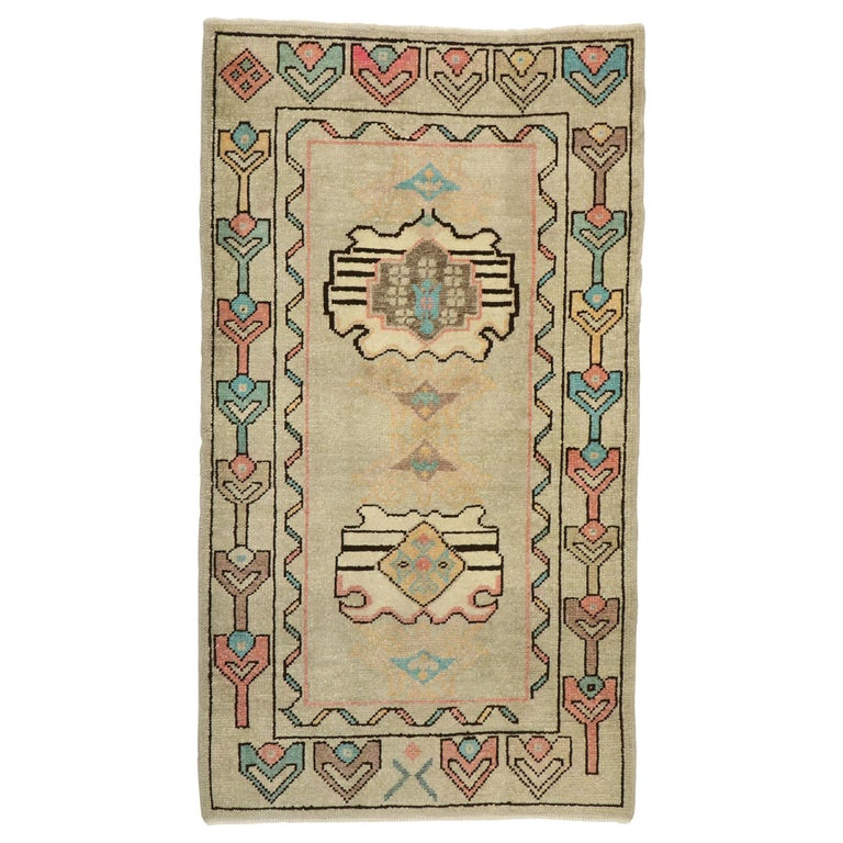 Vintage Turkish Oushak Rug with Bohemian Swedish Gustavian Farmhouse Style For Sale