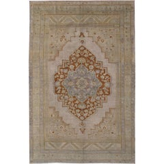 Vintage Turkish Oushak Rug with Brown Medallion in Light Green & Light Purple