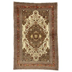 Vintage Turkish Oushak Rug with Central Medallion Design