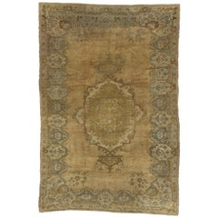 Vintage Turkish Oushak Rug with Chinoiserie Style or Modern Traditional Design