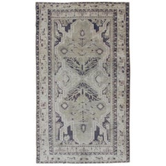 Vintage Turkish Oushak Rug with Dual Medallion Design in Dark Blue and Taupe
