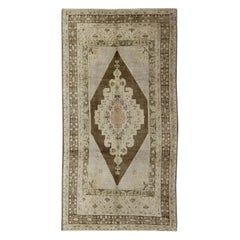 Vintage Turkish Oushak Rug with Floral Multi-Layered Medallion in Brown & Cream