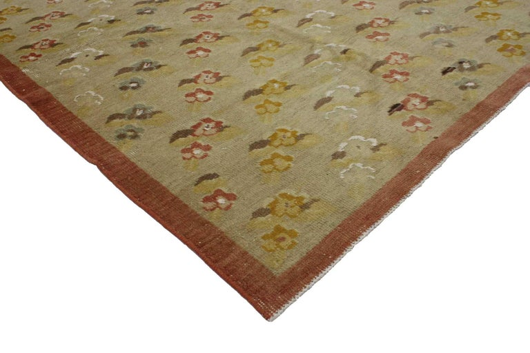 Modern Vintage Turkish Oushak Rug with Flower Pattern in Farmhouse Style For Sale