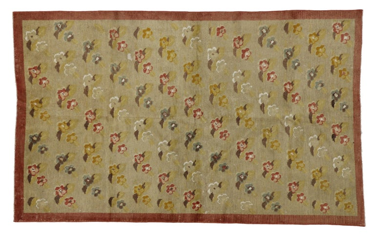 Hand-Knotted Vintage Turkish Oushak Rug with Flower Pattern in Farmhouse Style For Sale