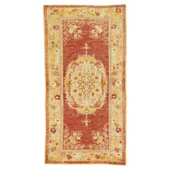 Vintage Turkish Oushak Rug with French Rococo Style, Kitchen, Foyer or Entry Rug