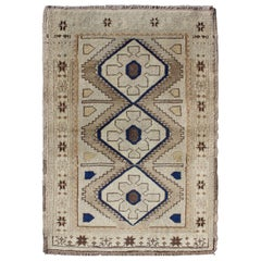 Vintage Turkish Oushak Rug with Geometric Design in Blue, Taupe and Sand