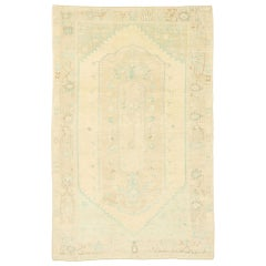 Vintage Turkish Oushak Rug with Gustavian Swedish Country Cottage Style