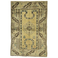 Vintage Turkish Oushak Rug with Late Victorian Style