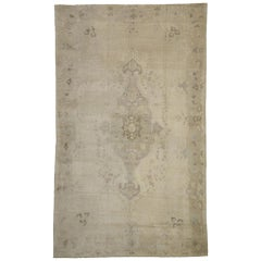 Vintage Turkish Oushak Rug with Mission Style and Muted Colors