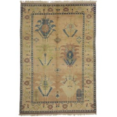 Vintage Turkish Oushak Rug with Modern Design and Soft Colors