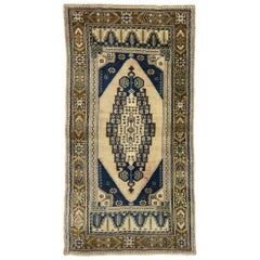 Vintage Turkish Oushak Rug with Modern Greek Mediterranean Style