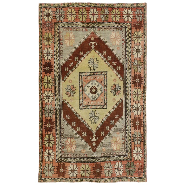 Modern Foyer Rugs : Vintage turkish oushak rug with modern style entry or