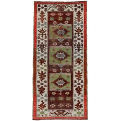 Vintage Turkish Oushak Wide Runner with Color Pop, Anatolian Yuntdag Gallery Rug