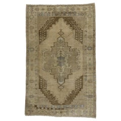 Vintage Turkish Oushak Rug with Modernist International Style and Muted Colors