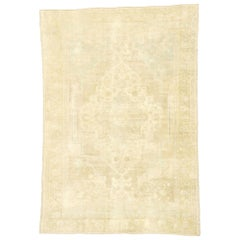 Vintage Turkish Oushak Rug with Muted Hues and Monochromatic Mission Style