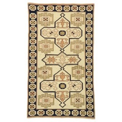 Vintage Turkish Oushak Rug with Neutral Navajo Style
