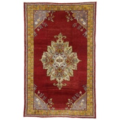 Vintage Turkish Oushak Rug with Regency Queen Anne Style and Vibrant Colors