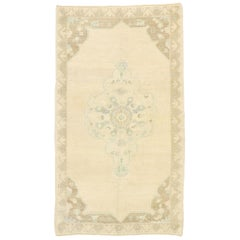 Vintage Turkish Oushak Rug with Romantic French Country Cottage Style