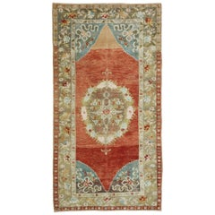 Vintage Turkish Oushak Rug with Romantic Rustic Georgian Style