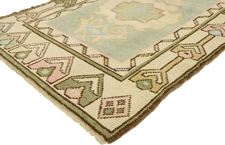 52934, vintage Turkish Oushak rug with romantic Swedish Gustavian farmhouse style 03'00 x 05'09. Soft, bespoke vibes meet a romantic Swedish Gustavian farmhouse style in this hand knotted wool vintage Turkish Oushak rug. The pale bluish-sage colored
