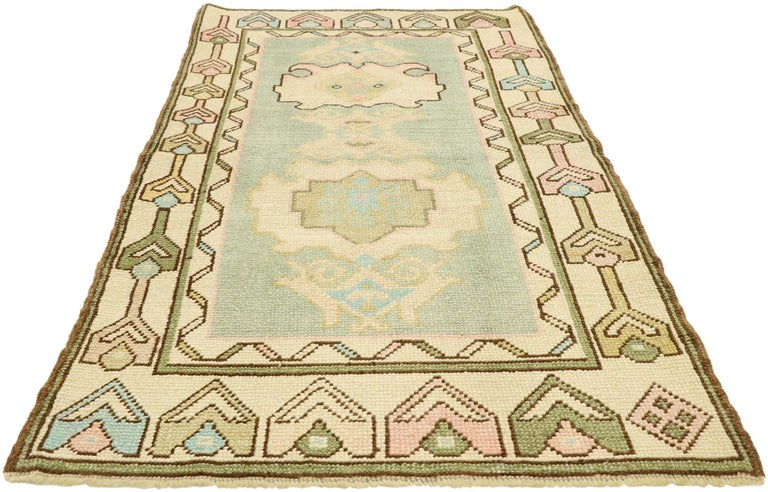 Hand-Knotted Vintage Turkish Oushak Rug with Romantic Swedish Gustavian Farmhouse Style For Sale