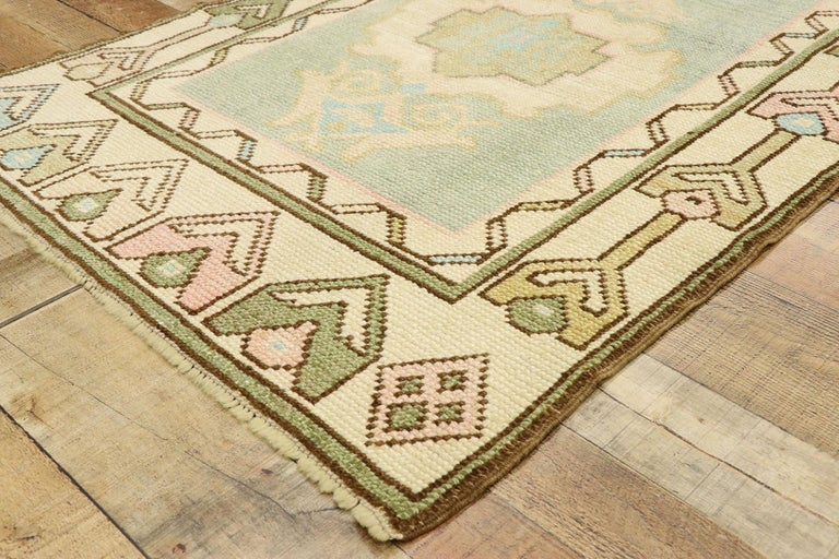 Wool Vintage Turkish Oushak Rug with Romantic Swedish Gustavian Farmhouse Style For Sale