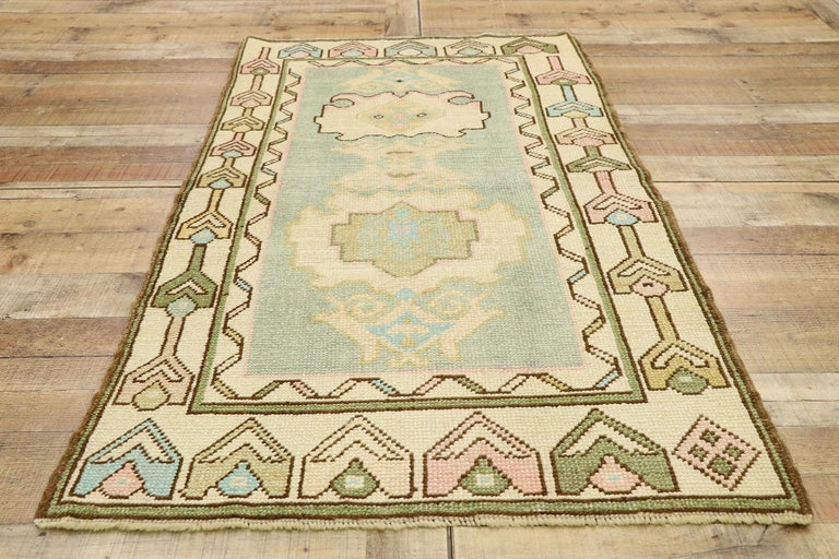 Vintage Turkish Oushak Rug with Romantic Swedish Gustavian Farmhouse Style For Sale 1
