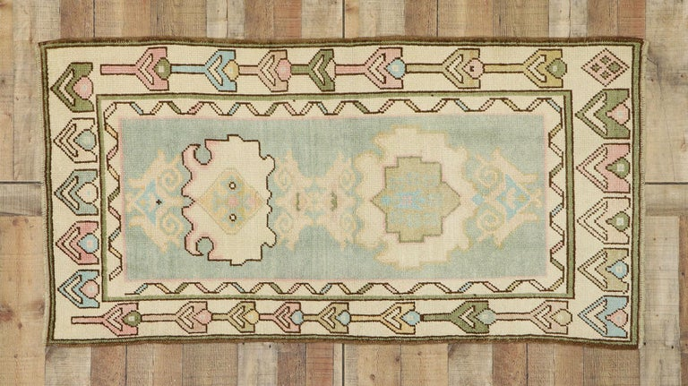 Vintage Turkish Oushak Rug with Romantic Swedish Gustavian Farmhouse Style For Sale 2