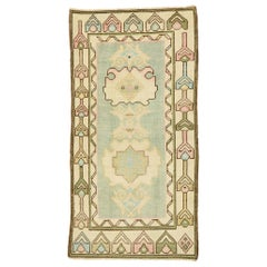 Vintage Turkish Oushak Rug with Romantic Swedish Gustavian Farmhouse Style