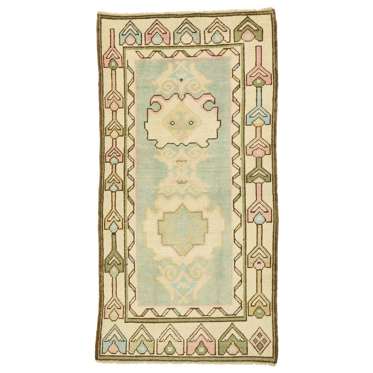 Vintage Turkish Oushak Rug with Romantic Swedish Gustavian Farmhouse Style For Sale