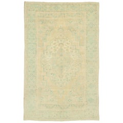 Vintage Turkish Oushak Rug with Russian Dacha Home Style