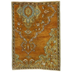 Vintage Turkish Oushak Rug with Rustic Arts & Crafts Style, Scatter Rug