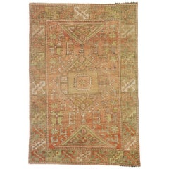 Vintage Turkish Oushak Rug with Rustic Lodge and Tribal Style