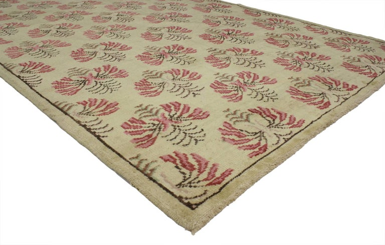 Hand-Knotted Vintage Turkish Oushak Rug with Shabby Chic Farmhouse Style For Sale