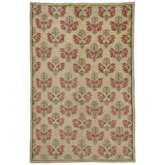Vintage Turkish Oushak Rug with Shabby Chic Farmhouse Style