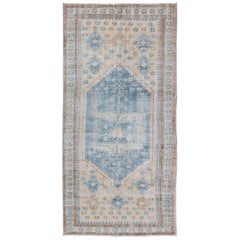 Medallion Design Persian  antique Rug with Tribal Design in Blue and Butter