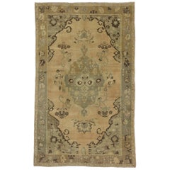 Vintage Turkish Oushak Rug with Subtle Colors and Swedish Modern Farmhouse Style