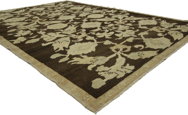 50847, vintage Turkish Oushak rug with Swedish cottage style. This gorgeous authentic hand knotted wool vintage Turkish Oushak rug features all the charms of Swedish Cottage style. Soothing colors evoke calm and balance. The palette provides a soft