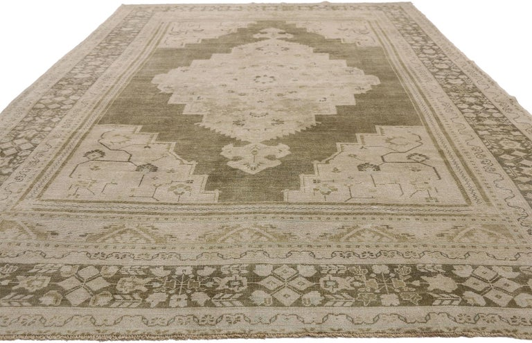 Hand-Knotted Vintage Turkish Oushak Rug with Swedish Farmhouse and Cottage Style For Sale