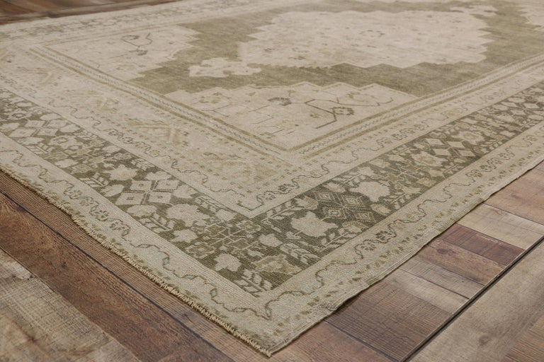 Wool Vintage Turkish Oushak Rug with Swedish Farmhouse and Cottage Style For Sale