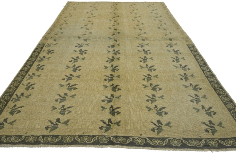 Hand-Knotted Vintage Turkish Oushak Rug with Swedish Farmhouse Cottage Style For Sale