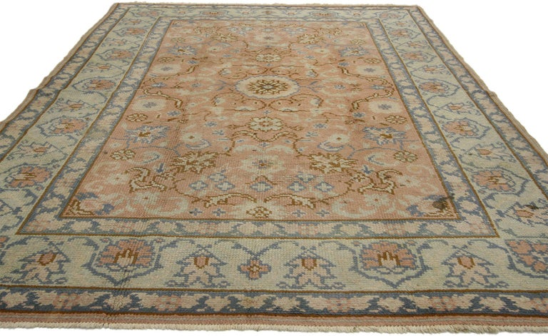 Hand-Knotted Vintage Turkish Oushak Rug with Swedish Farmhouse or English Country Style For Sale