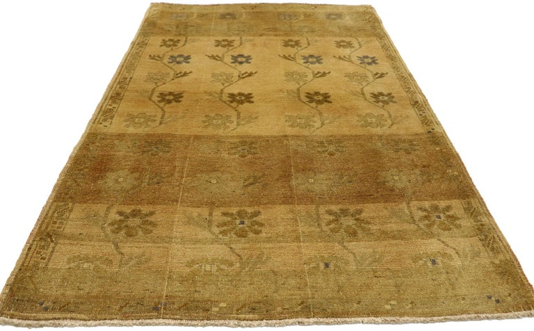 Hand-Knotted Vintage Turkish Oushak Rug with Swedish Farmhouse Style For Sale