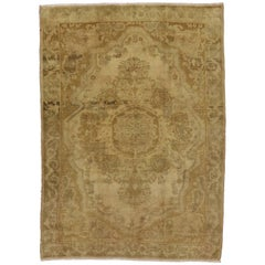 Vintage Turkish Oushak Rug with Traditional Style and Medallion Design