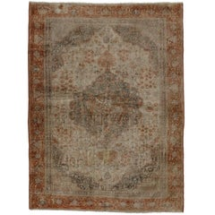 Distressed Vintage Turkish Oushak Rug with Traditional Style, Foyer or Entry Rug