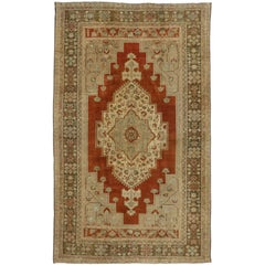 Vintage Turkish Oushak Rug with Traditional Style, Gallery Rug