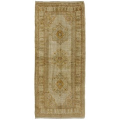 Distressed Vintage Turkish Oushak Rug Runner with British Colonial Style