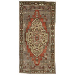 Vintage Turkish Oushak Rug with Traditional Style, Wide Hallway Runner