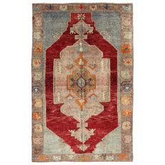 Vintage Turkish Oushak Rug with Tribal Medallion in Deep Red and Multi-Color